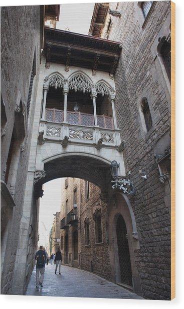 Carrer Del Bisbe Street In Gothic Quarter Of Barcelona Wood Print