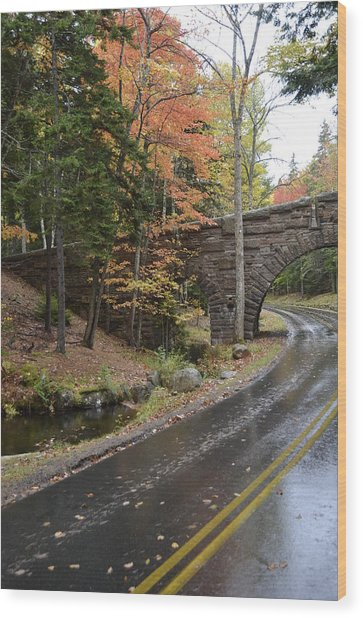 Carriage Bridge In Acadia Wood Print