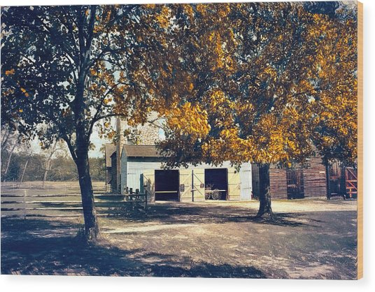 Carriage House At Batsto Village Wood Print