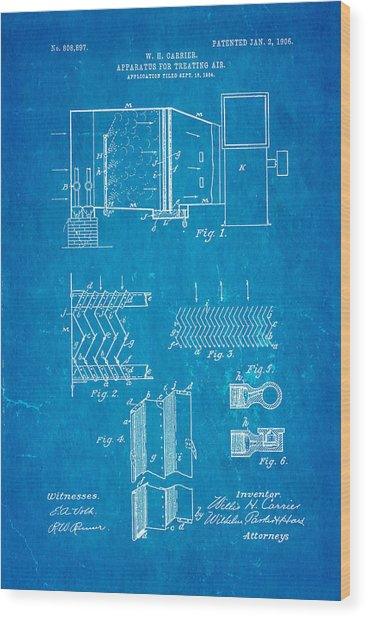Carrier air conditioning patent art 1906 blueprint photograph by ian carrier air conditioning patent art 1906 blueprint wood print by ian monk malvernweather Image collections