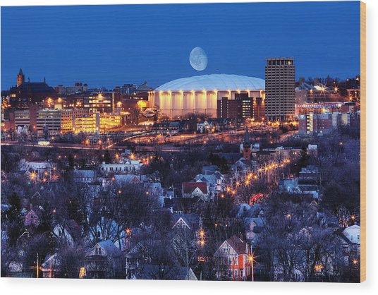 Wood Print featuring the photograph Carrier Dome by Chris Babcock