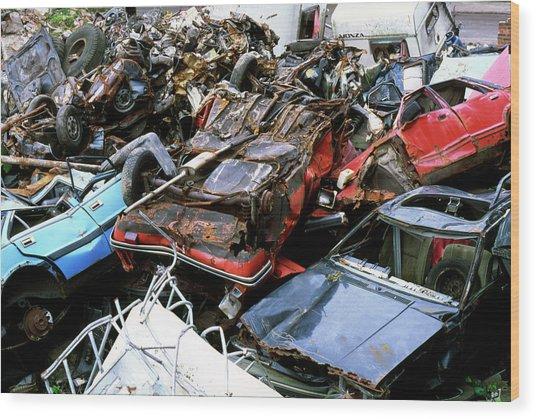 Cars At A Scrap Yard Wood Print