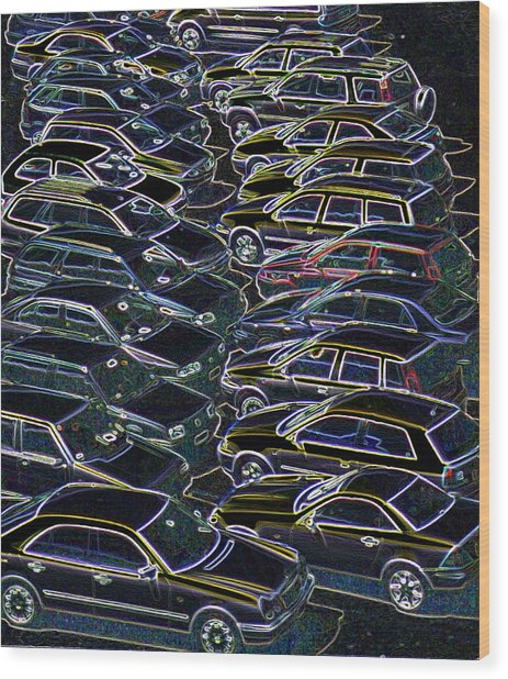 Cars In A Car Park Wood Print by Sheila Terry/science Photo Library