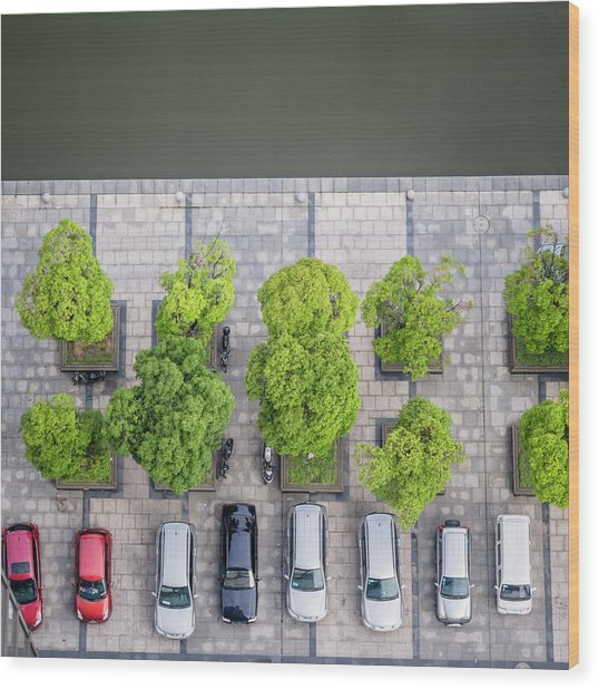 Cars On A Parking Lot Wood Print by Chinaface