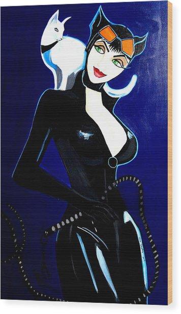 Comic Cat Woman Wood Print