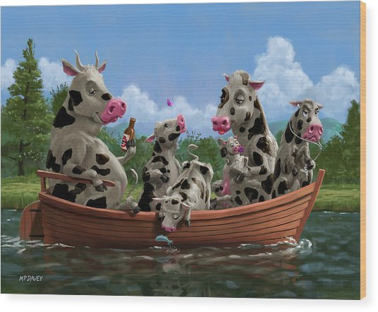 Cartoon Cow Family On Boating Holiday Wood Print