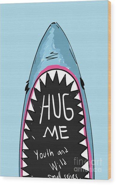 Cartoon Shark For Kids Clothing Wood Print