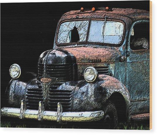 Cartoon Truck Wood Print