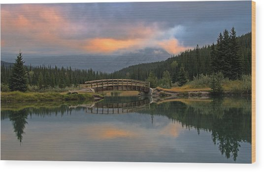 Cascade Ponds Sunrise Wood Print
