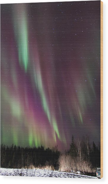 Cascading Aurora Wood Print