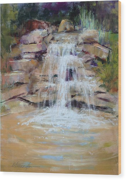 Cascading Water Wood Print by Beverly Amundson