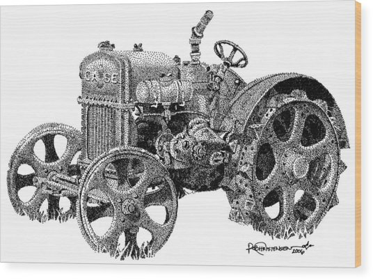 Case Tractor Wood Print by Rob Christensen