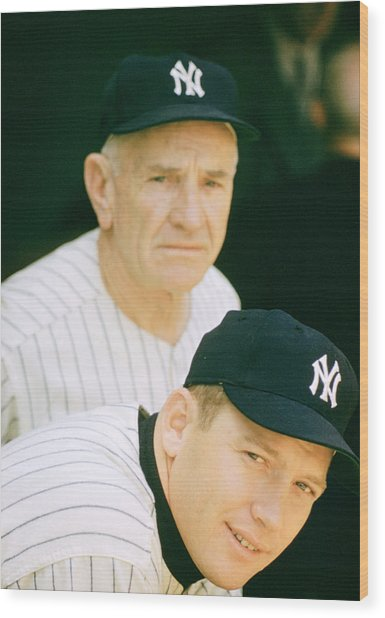 Casey Stengel And Mickey Mantle Wood Print