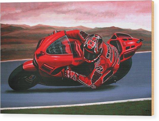 Casey Stoner On Ducati Wood Print
