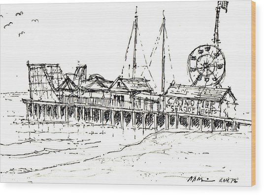 Casino Pier In Seaside Heights Nj Wood Print