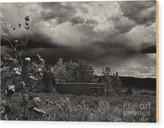 Casita In A Storm Wood Print
