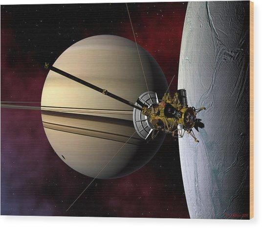 Cassini Probe Passing Enceladus Wood Print