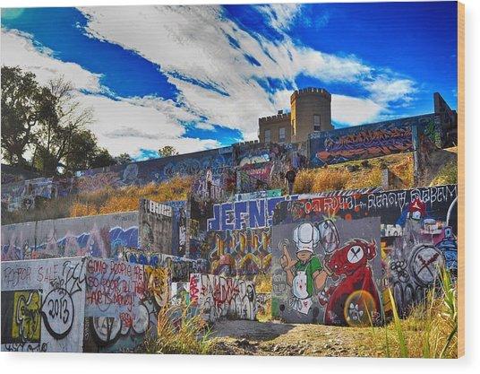 Castle Graffiti Art Wood Print