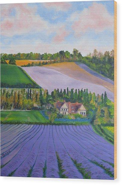 Castle Farm Shoreham Kent Lavender Fields England Wood Print