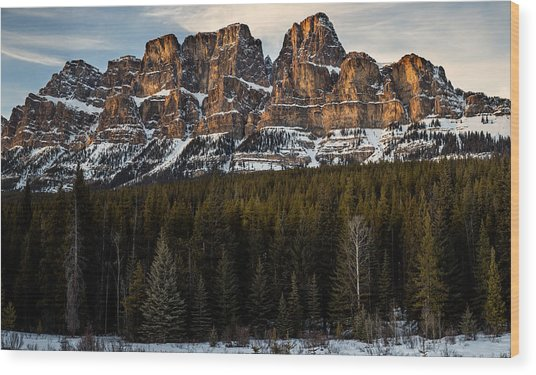Castle Mountain At Sunset  Wood Print