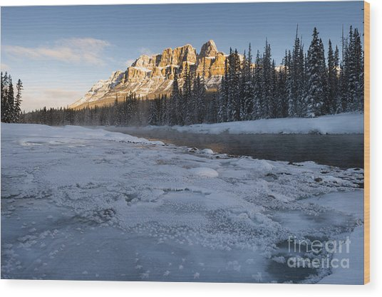 Castle Mountain Sunrise Wood Print by Ginevre Smith