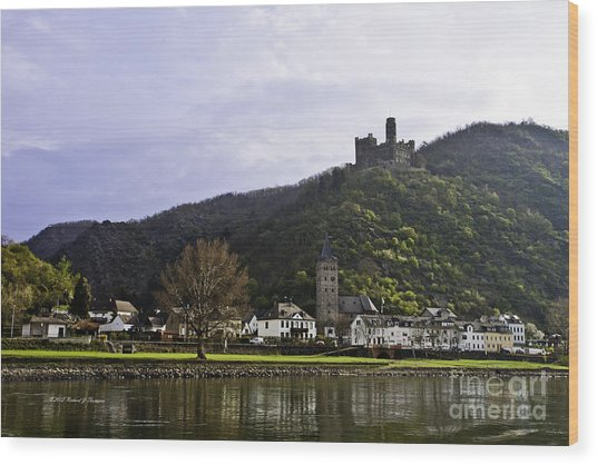 Castle On Hill Above Town Wood Print