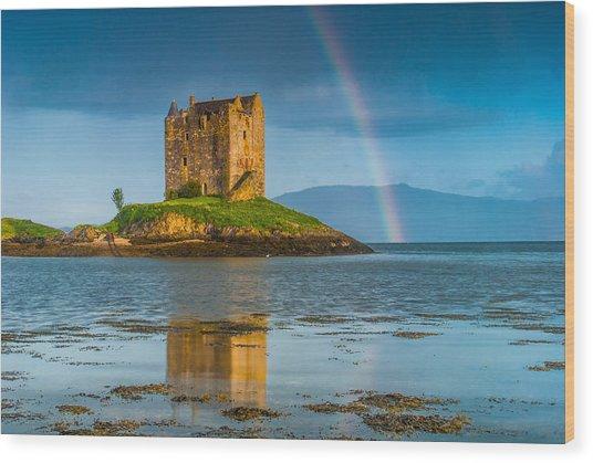 Castle Stalker Rainbow Wood Print by David Ross