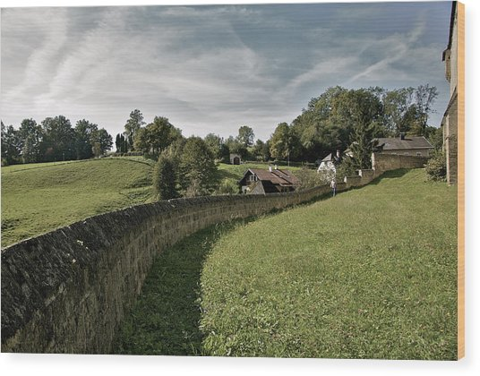 Castle Wall In Tittmoning Germany Wood Print