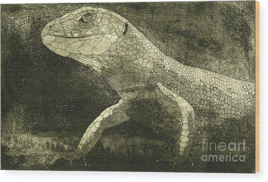 casual meeting Reptile Viviparous Lizard  Lacerta vivipara Wood Print