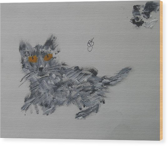 Wood Print featuring the painting Cat by AJ Brown