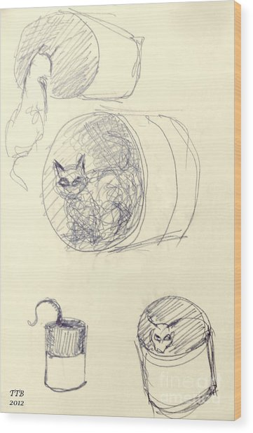 Cat And Cans  Wood Print