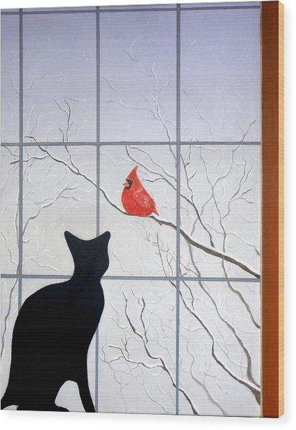 Cat And Cardinal Wood Print