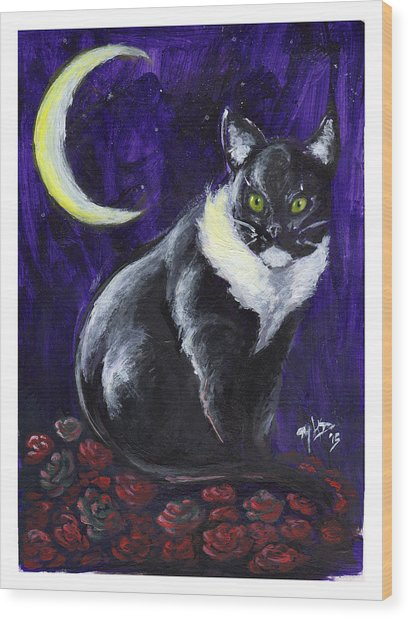 Cat And Roses Wood Print by Miguel Karlo Dominado