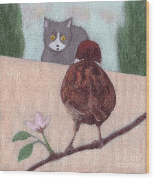 Cat And Sparrow  Wood Print