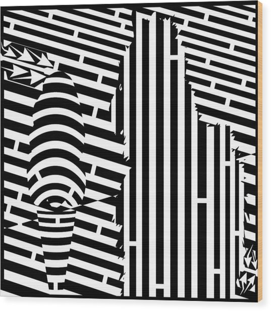 Cat And The Ice Cream Cone Maze Wood Print by Yonatan Frimer Maze Artist