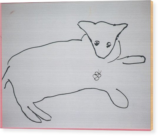 Cat Drawing Wood Print
