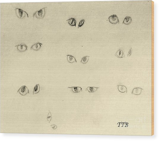 Cat Eyes -2 Wood Print