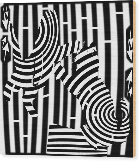 Cat Fight Maze Wood Print by Yonatan Frimer Maze Artist