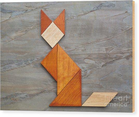 Cat Figure - Tangram Abstract Wood Print
