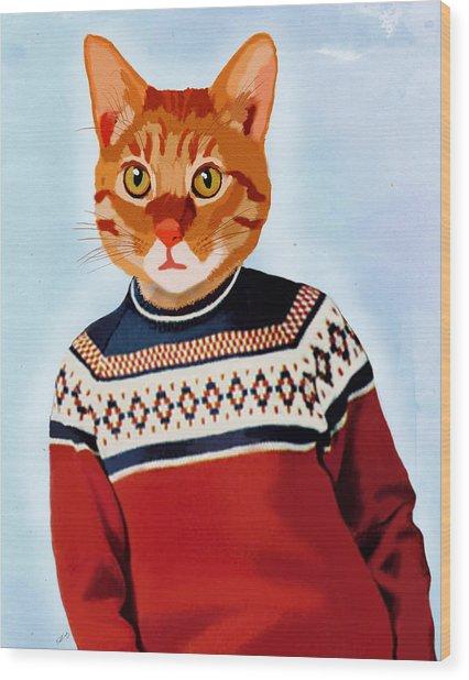 Cat In A Ski Jumper Wood Print by Kelly McLaughlan
