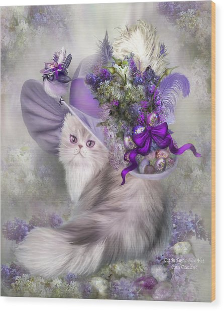Wood Print featuring the mixed media Cat In Easter Lilac Hat by Carol Cavalaris