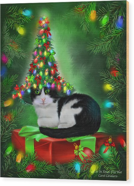 Wood Print featuring the mixed media Cat In Xmas Tree Hat by Carol Cavalaris