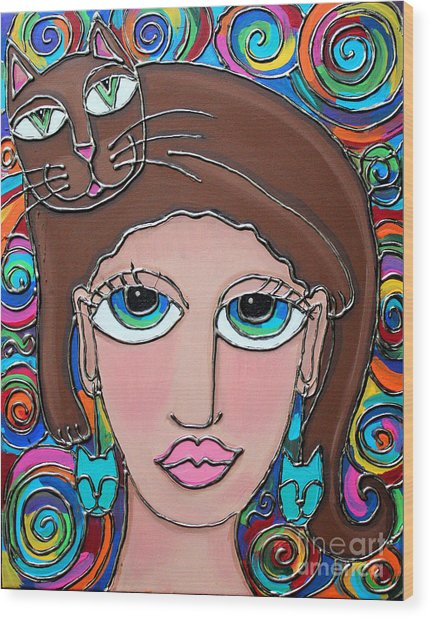 Cat Lady With Brown Hair Wood Print