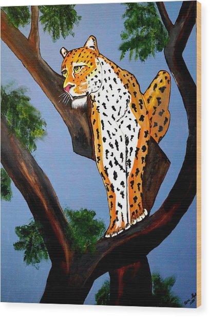 Cat On A Hot Wood Tree Wood Print