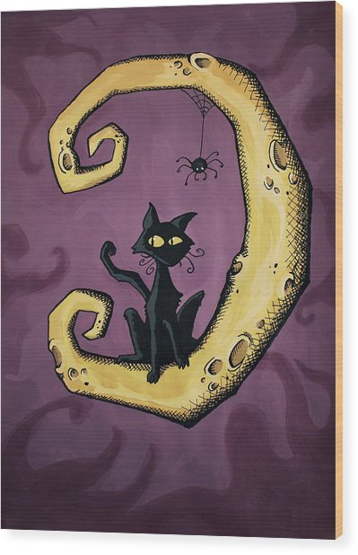 Cat On The Moon Wood Print by Sara Coolidge