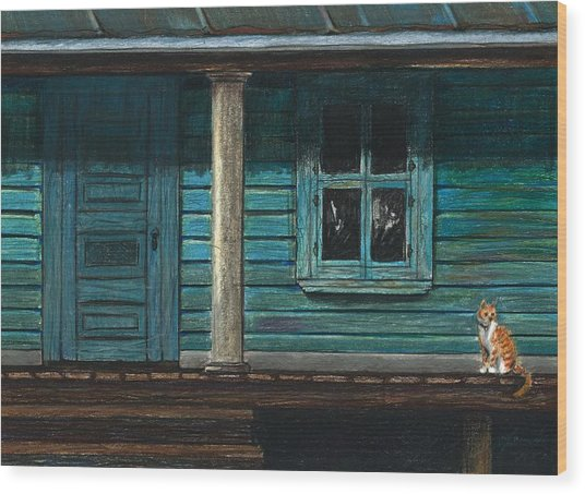Cat On The Porch Wood Print