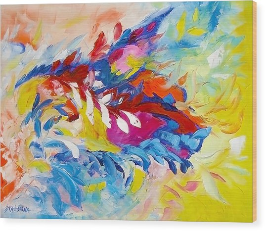 Cat Panther Painting Abstract Art Bright Colors Wood Print