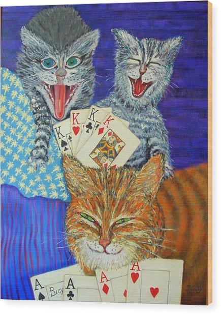 Cat Poker Wood Print