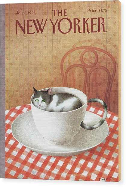 Cat Sits Inside A Coffee Cup Wood Print