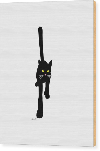 Cat Stepping Forward Wood Print by The Art of Marsha Charlebois